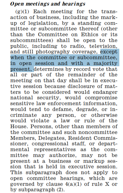 House Committee Rule XI(2)(g)(1) on Open Meetings and Hearings