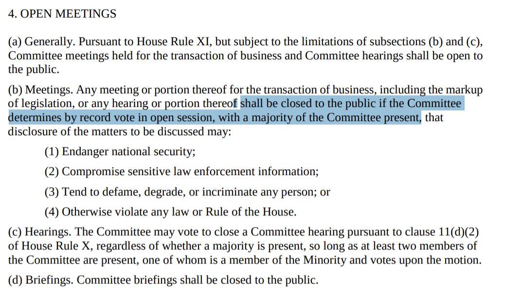House Intelligence Committee Rules for the 114th Congress, Rule 4